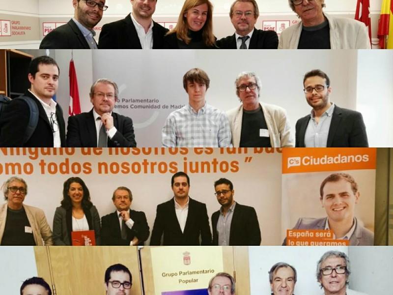 Todos los grupos políticos de la Asamblea de la Comunidad de Madrid apoyando al Johnny